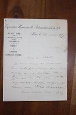 ✒ L.A.S. Charles LADREIT de LACHARRIERE à Aurélien SCHOLL expo universelle 1878
