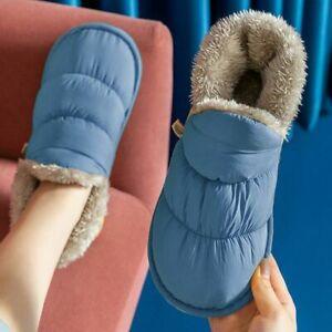 Winter Warm Plush Slippers Men Women Down Cotton Indoor Unisex Comfortable Shoes