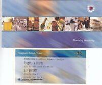 Ticket - Rangers v Hearts 20.12.2003 - Hospitality ticket in folder