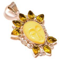 Carved Bone Face with Lemon Quartz Gems silver plated Handmade Charm Pendant