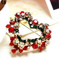 Wedding Party Christmas Cute Gift Jewelry Rhinestone Enamel Alloy Brooch Pin