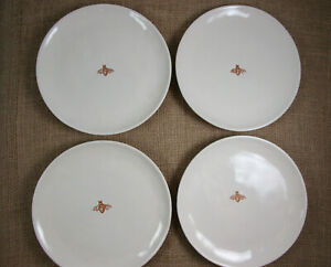 WILLIAMS SONOMA Set of 4 HONEYBEE Salad/Dessert Plates Embossed Honeycomb Bee