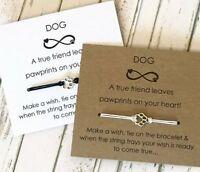 Friendship Best Friend Dogs Card Wish String Silver Charm Bracelet Gift #17 PAW