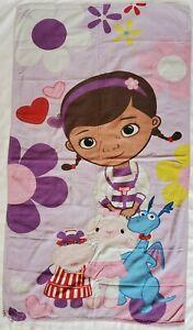 "Disney Doc McStuffins Purple Beach Towel 52"" x 29"" Stuffy, Hallie & Lambie"