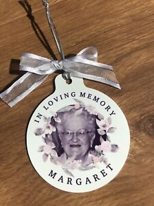 Personalised Rememberance Christmas Bauble Tree Ornament Your Photo Metal Bauble