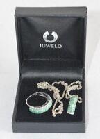 Smaragd Halskette Anhänger 925 Kette & 925 Ring Sterlingsilber Silber Fach C4