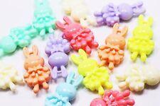 Rabbit Charm Plastic Pastel Candy Color 3D Animal Large Cute Pendant 50mm 20pcs