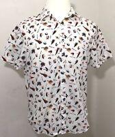 Original Penguin Large White Fishing Hook Print Button Front Short Sleeve Shirt