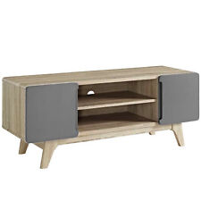"""47"""" MID CENTURY MODERN LED LCD DLP HD TV STAND CREDENZA MEDIA NATURAL GRAY DISPL"""