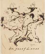 Carl Streller danse exlibris Dr Lenze érotique de Nude Dance ETCHING GRAVURE c3