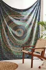 Indian Big Blue Cotton Medallion Tapestry Wall Hanging Boho Bed Throw Mandala