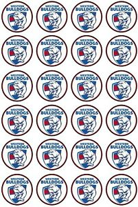 24 x WESTERN BULLDOGS Edible Rice Wafer Paper Cupcake Toppers 4cm Sport Logo