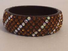 Vintage Bakelite era Lucite Bangle Bracelet w Rhinestones AB GORGEOUS