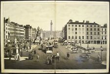 "Antique Print SACKVILLE ST & O'CONNELL BRIDGE Dublin Ireland Illus 6.5"" x 10"