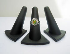 Finger Ring Displays - BLACK - Set of 3 - Triangular Base - 2 1/8in High