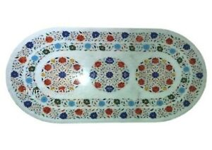 36 x 48 Inches Marble Wall Panel Top Multi Color Gemstones Inlaid Dining Table