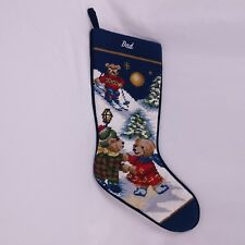 "Completed Needlepoint Christmas Stocking Skating Skiing Bears 20"" Dad Blue"