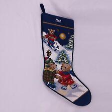 "Needlepoint Christmas Stocking Skating Skiing Bears 20"" Dad Blue"
