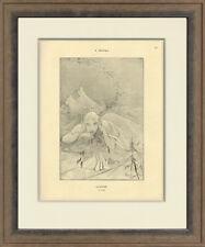 "Rare, Original 1898 ""January"" by Alphonse Mucha for Cocorico, Custom Framing"