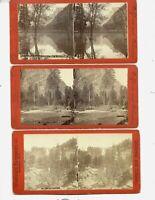 3 1870s Stereoviews Nevada Fall / Half Dome / Glacier Point Yosemite California