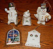 Lenox Christmas Tree Ornaments Snowman Sledding + 5 Total