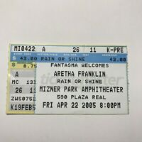 Aretha Franklin Mizner PArk Amphitheatre Concert Ticket Stub Vintage April 2005