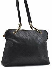 Authentic CHANEL Enamel Bicolore Matelasse Chain Shoulder Bag Black CC A6816