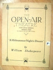 Open Air Theatre Programme- A MIDSUMMER NIGHT'S DREAM by William Shakespeare