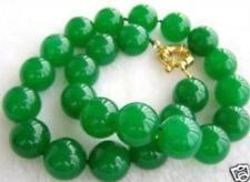 "10MM NATURAL GREEN JADE BEAD NECKLACE 18"" AAA+ LL007"
