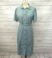 Vintage 60s 70s Fashion First Plaid Belted Button Down Shirt Dress Size L XL