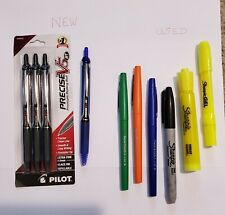 10 lot Mixed Pens & Markers - Rolling Ball, Permanent, Felt Tip, Highlighters