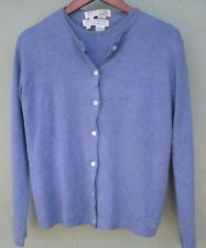 Saks Fifth Avenue Real Clothes Silk / Cashmere Blue/Grey Twin Sweater Set  Large