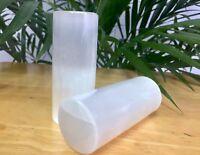 1 Pair Selenite Cylinder Selenite Harmonizer Crystal Wand Massager Reiki Chakra.