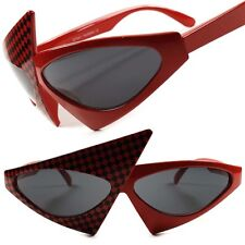 Red Black Checkers Funky Unique Vintage Retro Funky Womens Cat Eye Sunglasses