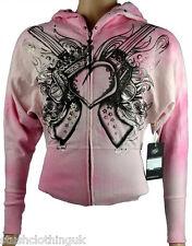KEY Closet Women's Zip Con Cappuccio/Giacca Con Amore Cuore Stampa Rosa (KCTP 009)