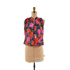 Vintage 70s Semi Sheer Red+ Pink Rose Floral Sleeveless Novelty Blouse Shirt Top