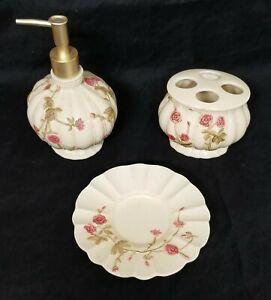 Croscill Rose Garden & Eggshell Ceramic Bathroom Set - GUC to VGUC