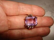 VINTAGE BEAUTIFUL BIG EMERALD CUT AMETHYST DIAMOND RING 14 KARAT GOLD SIZE 10