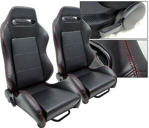 NEW 1 PAIR BLACK PVC LEATHER + RED STITCH RACING SEATS FITS FORD ***