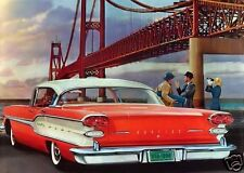 "5x7""photo REPRINT ADVERTISING 1958 PONTIAC ELEGANT STYLING GOLDEN GATE BRIDGE"