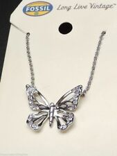 Fossil Butterfly Pendant Necklace Silvertone Pave Crystal New! NWT
