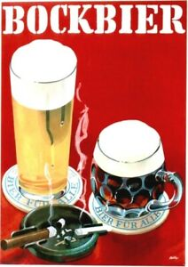 Original vintage poster SWISS COOL BOCKBEER SMOKERS c.1950