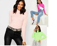 WOMENS LADIES SLIM FIT RIBBED POLO TURTLE ROLL NECK TOP LONG SLEEVE T SHIRT TOPS