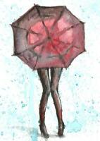 ACEO Rain red umbrella woman painting watercolor original art card