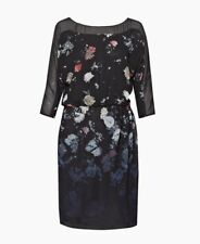 NEW FRENCH CONNECTION NIGHTFALL SHEER FLORAL LONG SLEEVED DRESS ~ SZ 12 71CIA