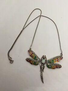 Art Nouveau insp Sterling silver Dragonfly Enamel Pendant Plique a Jour Opalite