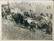 1938 Horrific Indiana Railroad Bus Struck by Train Anderson IN Press Photo
