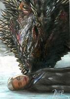 Game of Thrones DROGON & DENERYS Sketch Card PRINT 1 of 15 ART