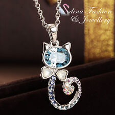 18K White Gold Filled Made With Swarovski Element Aquamarine Lovely Cat Necklace