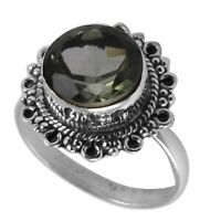 Green Amethyst Solid 925 Sterling Silver Ring  Jewelry Size-8.25 AR-7116